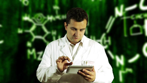Scientist using Tablet PC with Scientific Chemistry Background 6 Footage