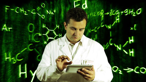 Scientist using Tablet PC with Scientific Chemistry Background 10 Footage
