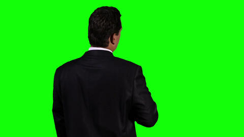 Young Businessman Back Touchscreen Greenscreen 4 Footage