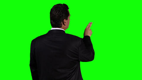 Young Businessman Back Touchscreen Greenscreen 4 Stock Video Footage