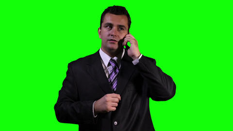 Young Businessman Phone Touchscreen Greenscreen 6 Stock Video Footage