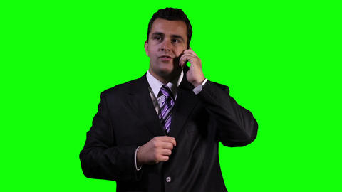 Young Businessman Phone Touchscreen Greenscreen 6 Footage