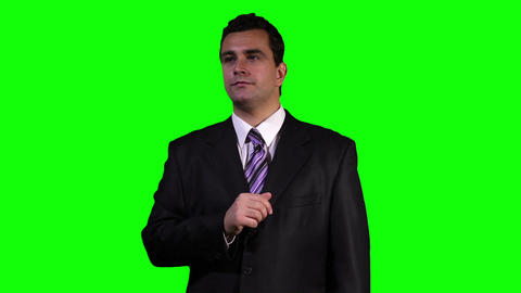 Young Businessman Touchscreen Greenscreen 1 stock footage