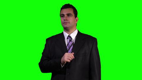 Young Businessman Touchscreen Greenscreen 1 Footage
