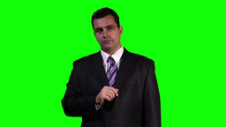 Young Businessman Touchscreen Greenscreen 1 Stock Video Footage