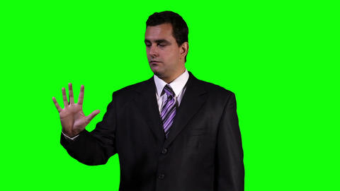 Young Businessman Touchscreen Greenscreen 3 Stock Video Footage
