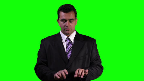 Young Businessman Typing Virtual Touchscreen Greenscreen 8 stock footage