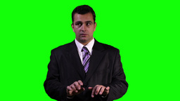 Young Businessman Typing Virtual Touchscreen Greenscreen 8 Stock Video Footage