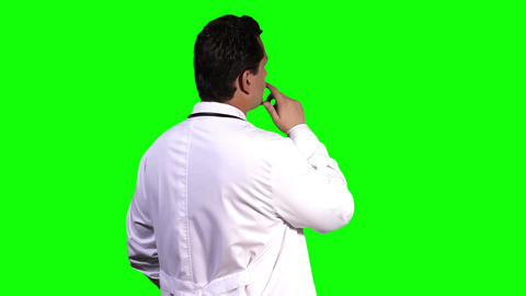Young Doctor Back Touchscreen Greenscreen 7 Footage