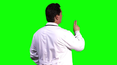 Young Doctor Back Touchscreen Greenscreen 9 Stock Video Footage