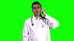 Young Doctor Phone Touchscreen Greenscreen 6 Stock Video Footage