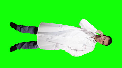 Young Doctor Scientist Full Body Phone Bad News GS 8 Stock Video Footage