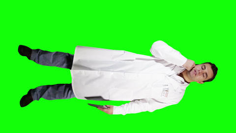 Young Doctor Scientist Full Body Tablet PC Phone GS 14 Stock Video Footage