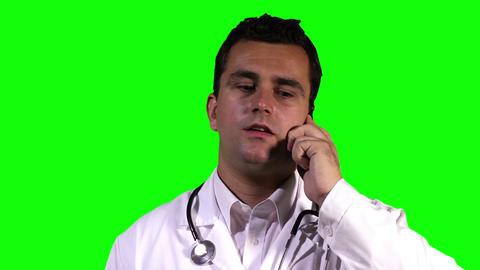 Young Doctor Touchscreen Closeup Greenscreen 20 Stock Video Footage