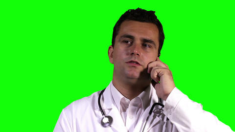 Young Doctor Touchscreen Closeup Greenscreen 20 Footage