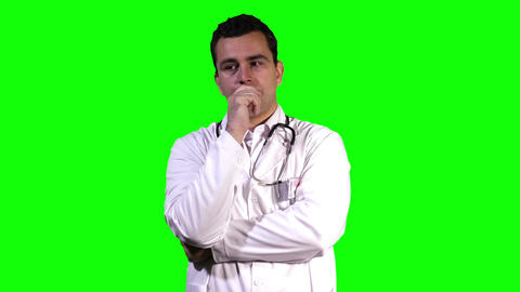Young Doctor Touchscreen Greenscreen 11 Stock Video Footage