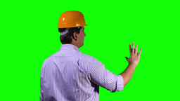 Young Engineer Back Touchscreen Greenscreen 2 Stock Video Footage