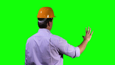 Young Engineer Back Touchscreen Greenscreen 2 Footage