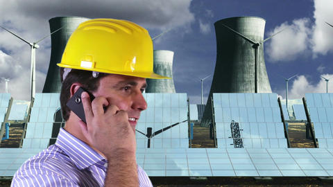 Young Engineer Cell Phone Energy Concept 2 Stock Video Footage