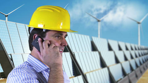 Young Engineer Cell Phone Energy Concept 4 Stock Video Footage