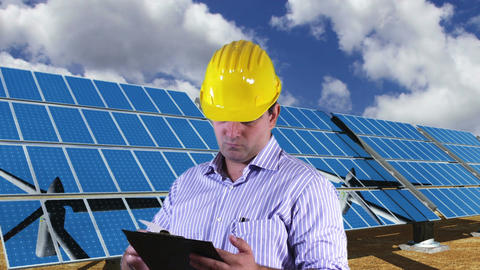 Young Engineer Checking Documents and Signs Energy Concept 4 Stock Video Footage