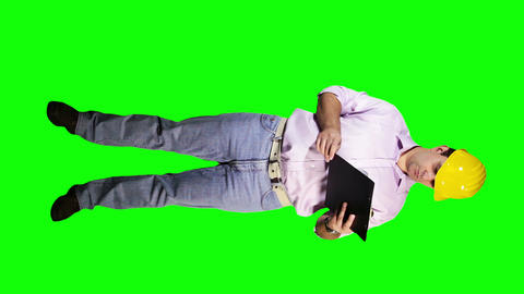 Young Engineer Checking Documents Full Body Greenscreen 39 Stock Video Footage