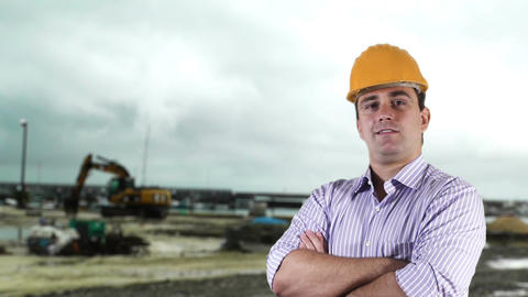 Young Engineer Construction Site 10 Stock Video Footage