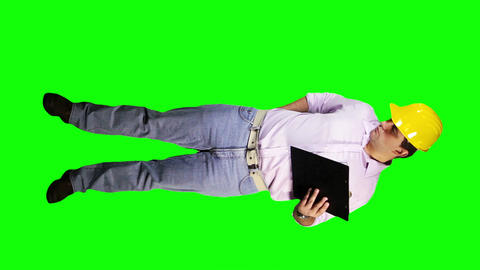 Young Engineer Documents Phone Full Body Greenscreen 79 Stock Video Footage