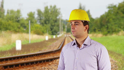 Young Engineer Looking Around Railway 2 Footage