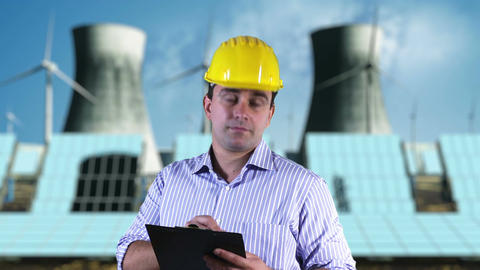 Young Engineer Making Notes Energy Concept 1 Stock Video Footage