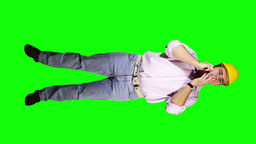 Young Engineer Phone Bad News Full Body Greenscreen 27 Stock Video Footage
