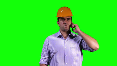 Young Engineer Phone Touchscreen Greenscreen 7 Footage