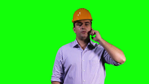 Young Engineer Phone Touchscreen Greenscreen 7 Stock Video Footage