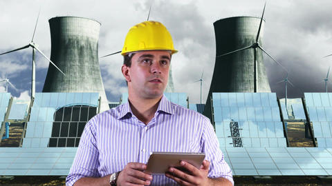 Young Engineer Tablet PC Energy Concept 2 Stock Video Footage