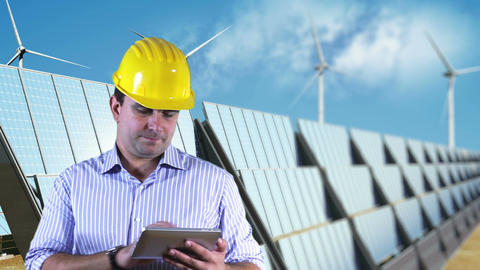 Young Engineer Tablet PC Energy Concept 4 Stock Video Footage