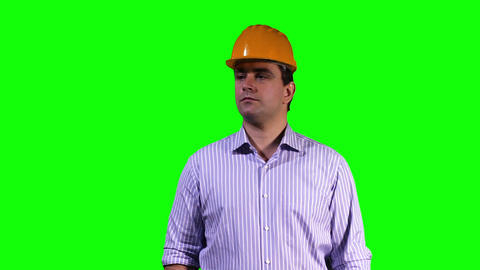 Young Engineer Touchscreen Greenscreen 5 Stock Video Footage