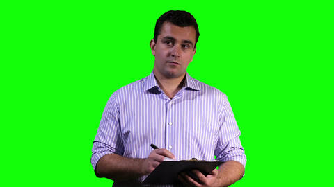 Young Man Making Notes Touchscreen Greenscreen 14 Stock Video Footage
