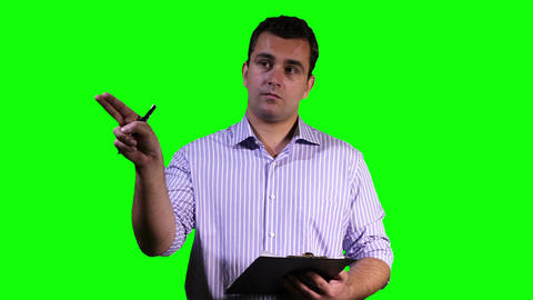 Young Man Making Notes Touchscreen Greenscreen 14 Footage
