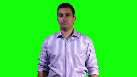 Young Man Touchscreen Greenscreen 10 Stock Video Footage