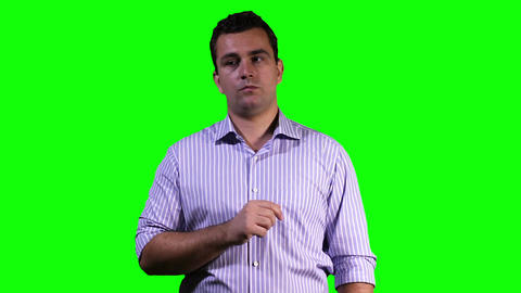 Young Man Touchscreen Greenscreen 10 Footage