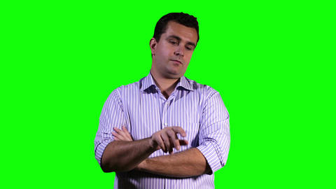 Young Man Touchscreen Greenscreen 15 Stock Video Footage
