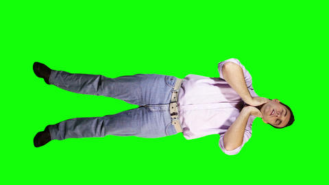Young Man Neck Pain Full Body Greenscreen 39 Stock Video Footage
