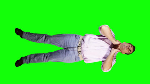 Young Man Neck Pain Full Body Greenscreen 39 Footage