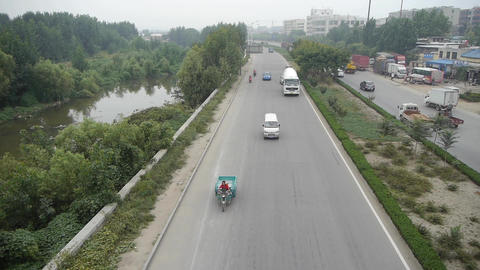 Cars Vehicle traveling on overpass road.Urban town busy... Stock Video Footage