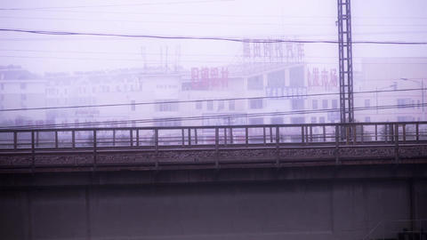 Long railway bridge Stock Video Footage