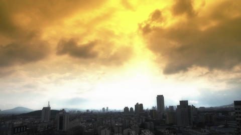 Cloud over High-rise.City buildings relying on mountain.Panoramic of Taishan,Tai Footage