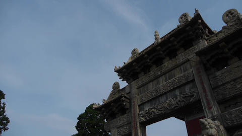China stone arch & ancient eaves Stock Video Footage