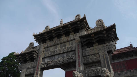 China stone arch & ancient eaves Footage