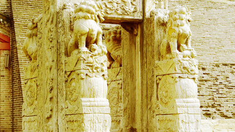 China stone arch & stone lions in front of ancient... Stock Video Footage