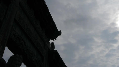 Sky Clouds cover sun & China stone arch.Majestic... Stock Video Footage
